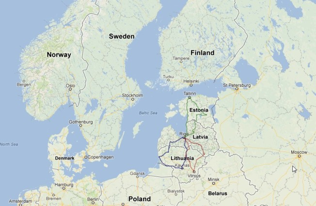 Nations around the Baltic Sea (Google Maps)