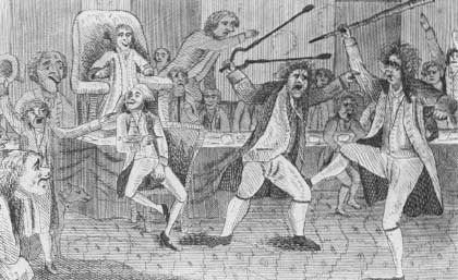 Satiric portrayal of the first fight in Congress, between Matthew Lyon and Roger Griswold. Lyon was later prosecuted under the Sedition Act