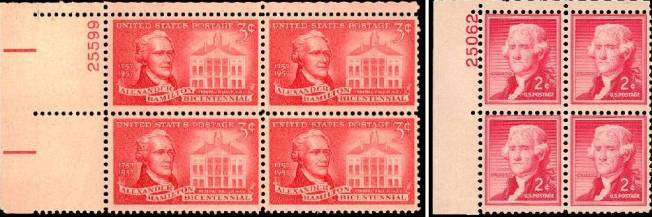 Hamilton and Jefferson on U.S. postage stamps