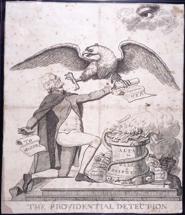 This Federalist cartoon depicts the federal eagle preventing Jefferson from burning the Constitution on the altar of French despotism