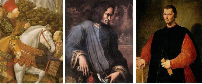 "(left to Right) Piero de' Medici, Lorenzo's Father (1416-1469); Lorenzo de' Medici, ""The Magnificent"" (1449-1492); Nicolo Machiavelli (1469-1527), A"