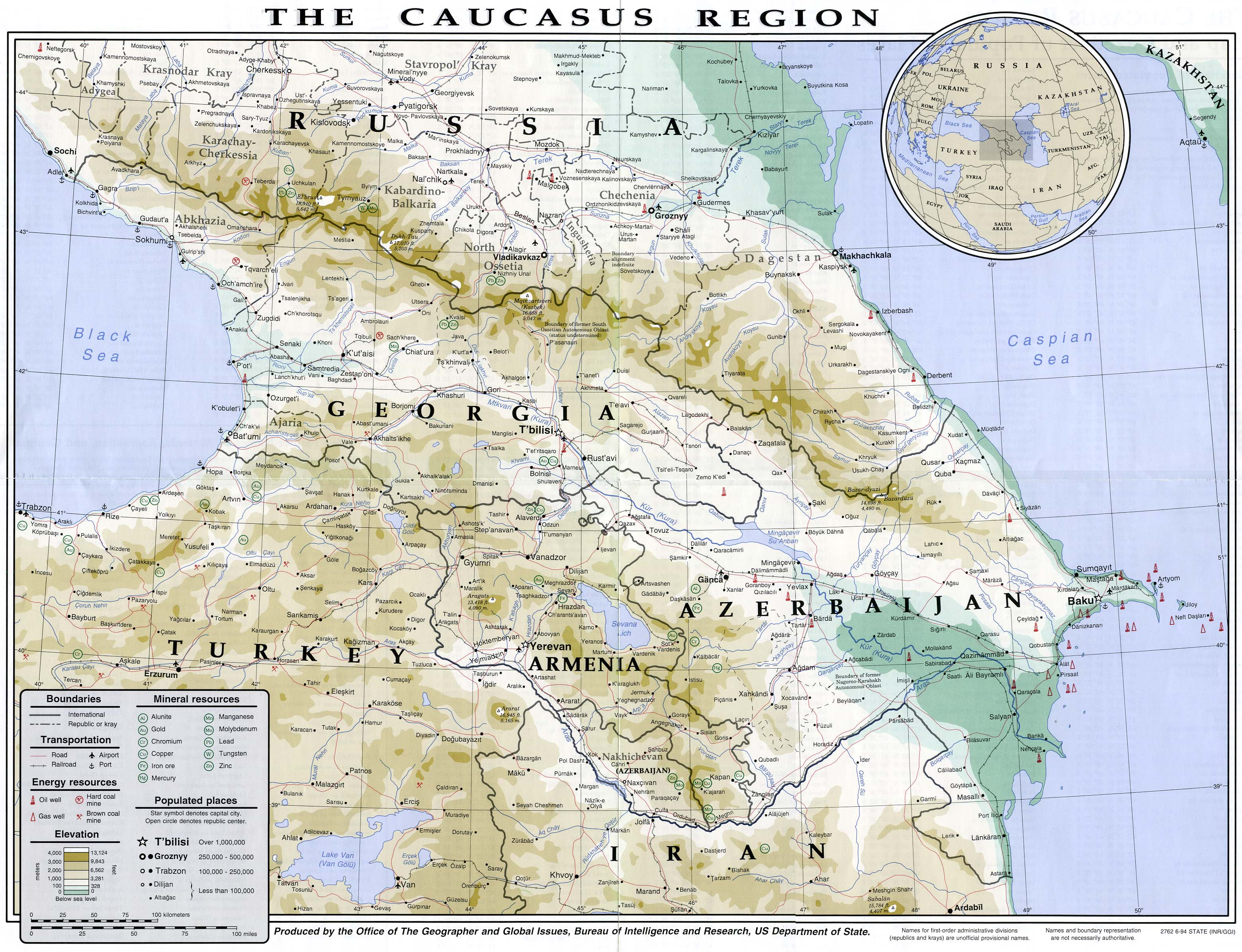 Caucasus Mountains Map Location